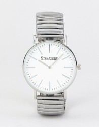 Stratford Watch With White Dial and Silver Strap - Silver