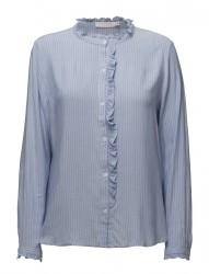 Stripe Shirt W. Front Ruffle