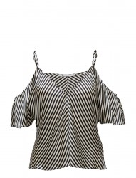 Striped Silk Charmeuse Cold Shoulder Top