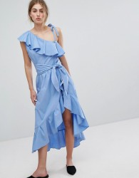 Style Mafia Cold Shoulder Ruffle Dress - Blue