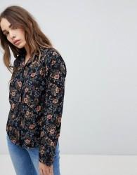 STYLENANDA Floral Printed Shirt - Black