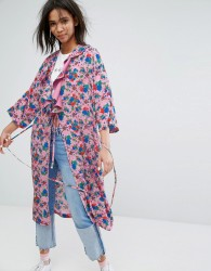 STYLENANDA Oversized Kimono With Frills In Floral Print - Pink