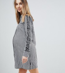Supermom Maternity Gingham Shirt Dress - Black