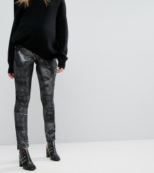 Supermom Maternity Metallic Jegging With Biker Details - Silver