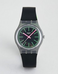 Swatch GM189 Fluoloopy Silicone Watch in Black - Black