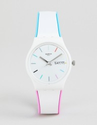 Swatch GW708 Core Silicone Watch In White 34mm - White