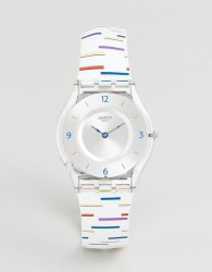Swatch SFE108 Skin Thin Liner Watch In White - Multi