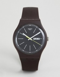 Swatch SUOC704 Blue Browny Watch In Brown - Brown
