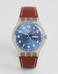Swatch SUOK709 Vent Brulant Leather Watch In Brown - Brown