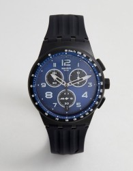 Swatch SUSB402 Nitespeed Chronograph Silicone Watch In Black - Black