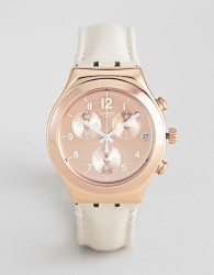 Swatch YCG416 Irony Chronograph Leather Watch In Tan 40mm - Tan