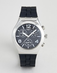 Swatch YCS116 Time To Swatch Silicone Watch In Black 40mm - Black