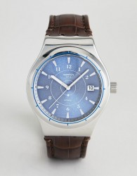 Swatch YIS404 Sistem 51 Irony Leather Watch In Brown 42mm - Brown