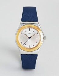 Swatch YLS191 Irony Blue Push Leather Watch - Navy