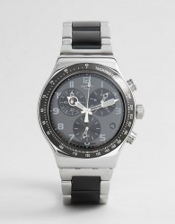 Swatch YVS441G Irony Speed Up Chronograph Bracelet Watch In Black/Silver - Silver