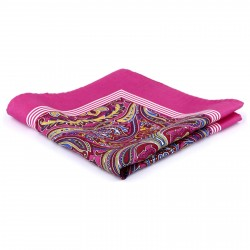 Tailor Toki Blomstret Pink Lommeklud i Silke