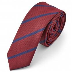 Tailor Toki Metallisk Rødt Slips med Blå Striber