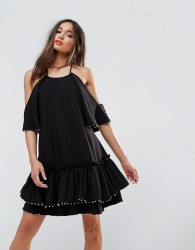 Talulah Edwardian Mini Dress - Black