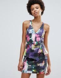Talulah Hues Of Rose Print Bodycon Dress - Black