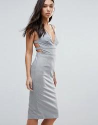 Talulah Walk On By Strappy Back Bodycon Dress - Grey