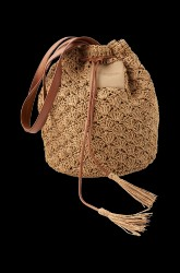 Taske Totebag Glitter i flettet bast