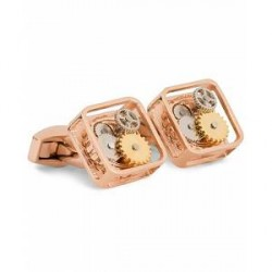 Tateossian Gear Square Cufflinks Rose Gold Colour Plated