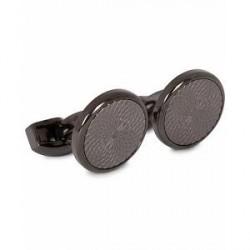 Tateossian Guilloché Round Cufflinks Black Plated