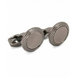 Tateossian Satin Bulls Eye Cufflinks Gunmetal Plated Brushed Base Meta
