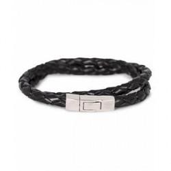 Tateossian Scoubidou Double Leather Bracelet Black