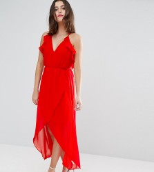 TD By True Decadence Petite Frill Detail High Low Midi Dress With Strappy Back - Red