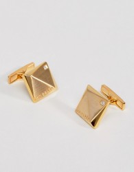 Ted Baker Baile Crystal Cufflinks In Gold - Gold