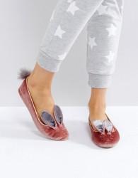 Ted Baker Bellamo Pink Velvet Bunny Slippers - Pink