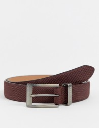 Ted Baker Consway leather belt in dark brick - Brown