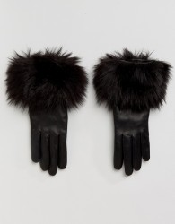 Ted Baker Faux Fur Gloves - Black