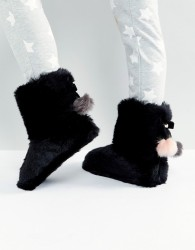 Ted Baker Hamond Faux Fur Bootie Slippers - Black