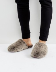 Ted Baker Nnyah Furry Slip On Slippers - Grey