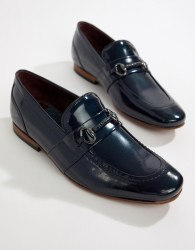 Ted Baker Paiser embossed loafers in patent navy leather - Navy