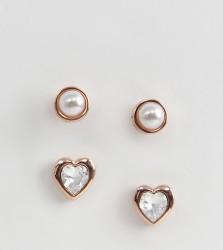 Ted baker rose gold pearl & heart crystal stud earrings gift set - Gold