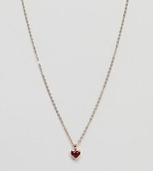 Ted Baker rose gold red gem heart pendant necklace - Gold