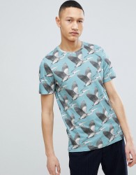Ted Baker T-Shirt In Blue With Bird Print - Blue