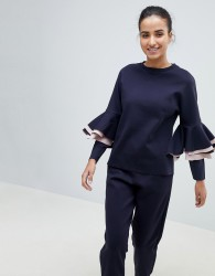 Ted Baker Ted Says Relax Frill Long Sleeve Sweatshirt - Navy