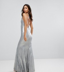 TFNC Allover Sequin Maxi Dress With Strappy Back - Silver