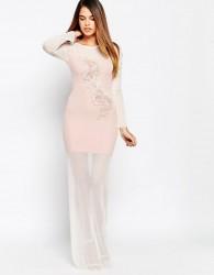 TFNC Applique Detail Maxi Dress - Pink