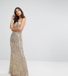TFNC Bandeau Sequin Maxi Dress - Gold