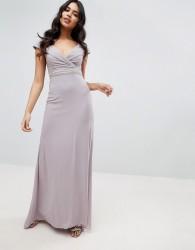 TFNC Bardot Maxi Bridesmaid Dress With Fishtail and Embellished Waist - Grey