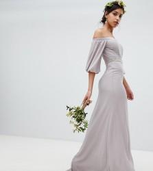 TFNC Bardot Maxi Bridesmaid Dress with Sleeve Drama and Embellished Waist - Grey