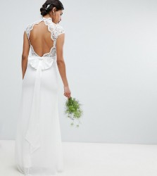 TFNC Bridal Maxi Bridal Dress With Scalloped Lace And Open Back - White