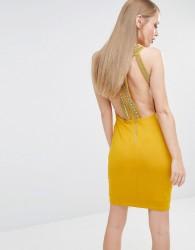 TFNC High Neck Bodycon Mini Dress with Gold Embellishment - Yellow