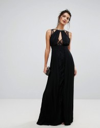 TFNC High Neck Embellished Maxi Dress With Lace Insert - Black