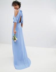 TFNC High Neck Maxi Bridesmaid Dress With Fishtail - Blue